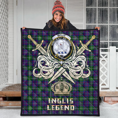 Inglis Modern Clan Crest Tartan Scotland Clan Legend Gold Royal Premium Quilt
