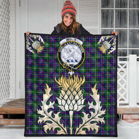 Image of Inglis Modern Clan Crest Tartan Scotland Thistle Gold Royal Premium Quilt