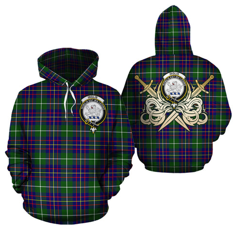 Inglis Modern Clan Crest Tartan Scottish Gold Thistle Hoodie