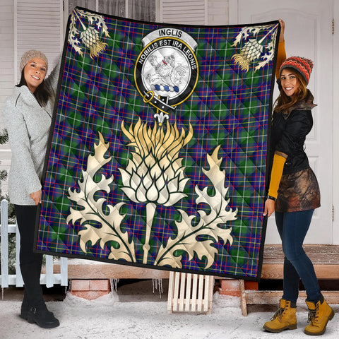 Image of Inglis Modern Clan Crest Tartan Scotland Thistle Gold Royal Premium Quilt K9