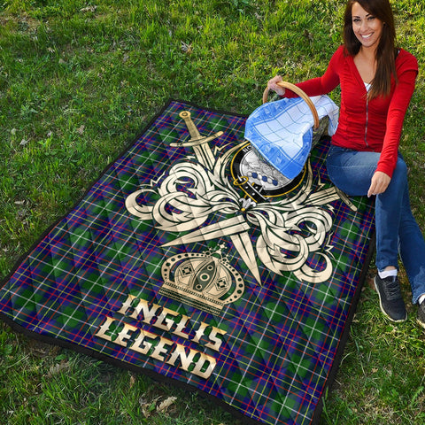 Inglis Modern Clan Crest Tartan Scotland Clan Legend Gold Royal Premium Quilt K9