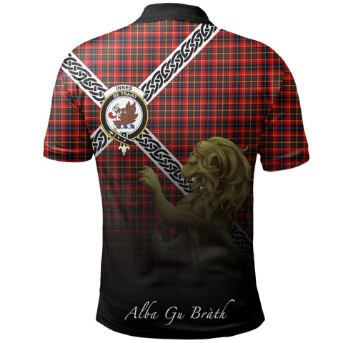 Image of Innes Modern Polo Shirts Tartan Crest Celtic Scotland Lion A30