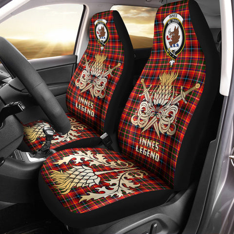 Car Seat Cover Innes Modern Clan Crest Gold Thistle Courage Symbol