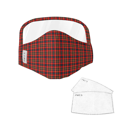 Image of Innes Modern Tartan Face Mask With Eyes Shield - Red  Plaid Mask TH8