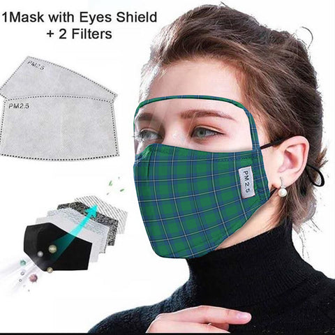 Irvine Ancient Tartan Face Mask With Eyes Shield - Blue & Green  Plaid Mask TH8