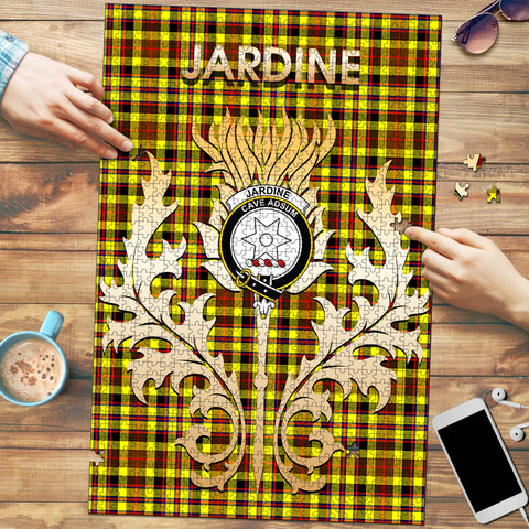 Image of Jardine Clan Name Crest Tartan Thistle Scotland Jigsaw Puzzle