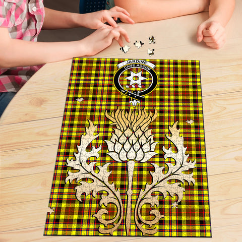Image of Jardine Clan Crest Tartan Thistle Gold Jigsaw Puzzle