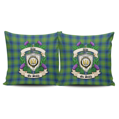 Johnston Ancient Crest Tartan Pillow Cover Thistle (Set of two) A91 | Home Set