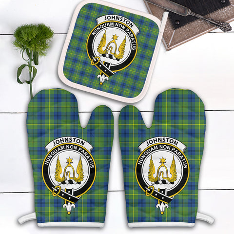 Johnston Ancient Clan Crest Tartan Scotland Oven Mitt And Pot-Holder (Set Of Two)