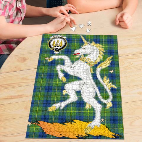 Johnston Ancient Clan Crest Tartan Unicorn Scotland Jigsaw Puzzle