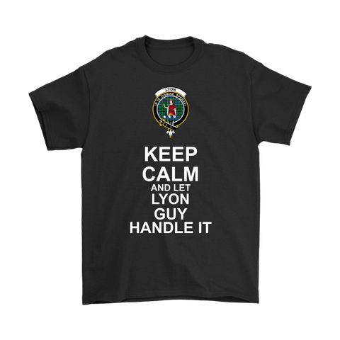 Lyon Tartan Keep Calm Guy T-Shirt | scottishclans.co