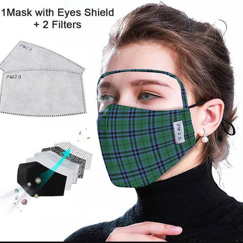 Keith Ancient Tartan Face Mask With Eyes Shield - Green & Blue  Plaid Mask TH8