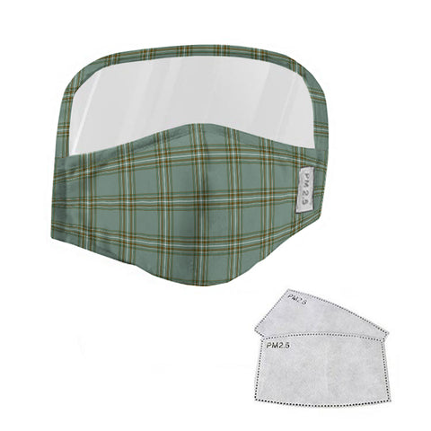 Kelly Dress Tartan Face Mask With Eyes Shield - Green  Plaid Mask TH8