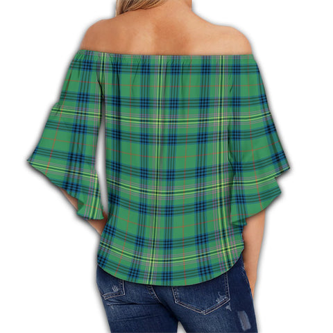 Kennedy Ancient Tartan Crest Off Shoulders Wrap Waist Top