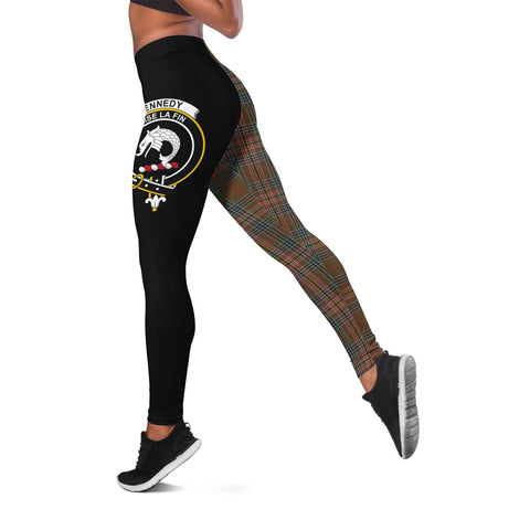 Image of Kennedy Weathered Crest Tartan Leggings | Over 500 Tartans | Special Custom Design