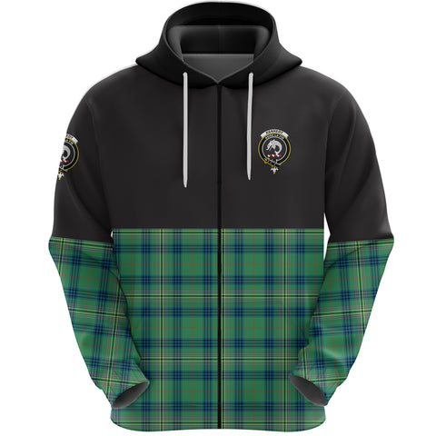 Kennedy Ancient Clan Zip Hoodie Half of Tartan