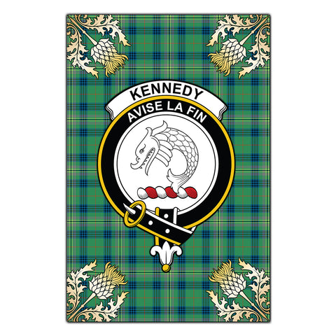 Garden Flag Kennedy Ancient Clan Crest Gold Thistle New