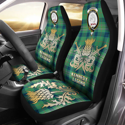 Car Seat Cover Kennedy Ancient Clan Crest Gold Thistle Courage Symbol