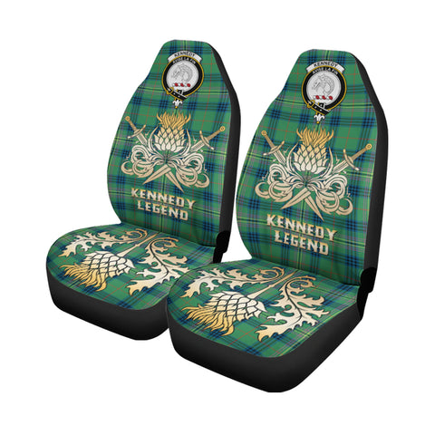 Car Seat Cover Kennedy Ancient Clan Crest Gold Thistle Courage Symbol K9