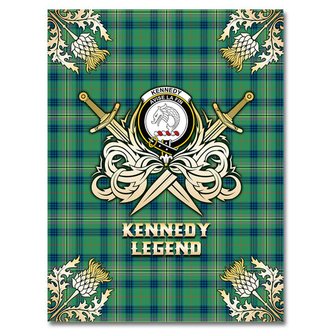 Premium Blanket Kennedy Ancient Clan Crest Gold Courage Symbol