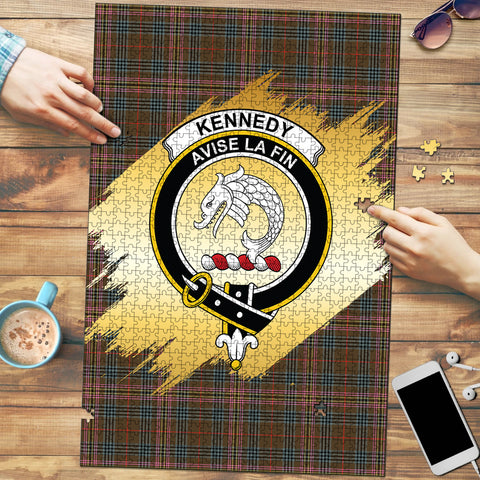 Kennedy Weathered Clan Crest Tartan Jigsaw Puzzle Gold