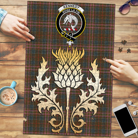 Image of Kennedy Weathered Clan Crest Tartan Thistle Gold Jigsaw Puzzle