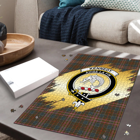 Image of Kennedy Weathered Clan Crest Tartan Jigsaw Puzzle Gold