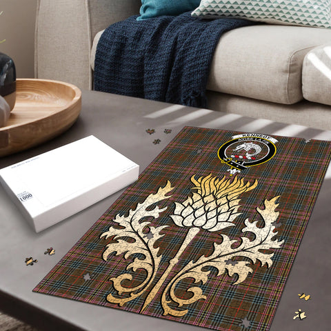 Kennedy Weathered Clan Crest Tartan Thistle Gold Jigsaw Puzzle