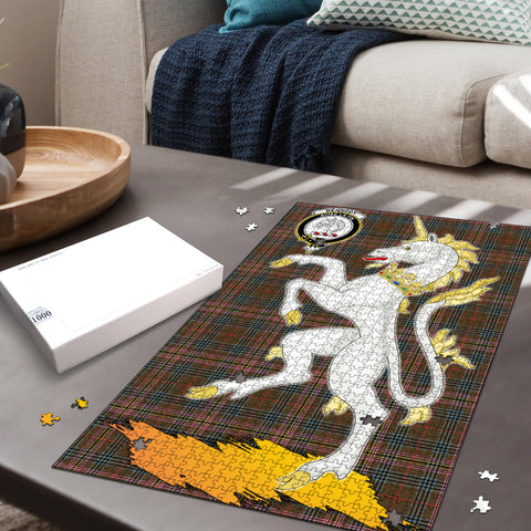 Kennedy Weathered Clan Crest Tartan Unicorn Scotland Jigsaw Puzzle