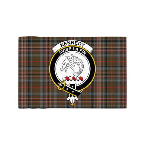 Kennedy Weathered Clan Crest Tartan Motorcycle Flag