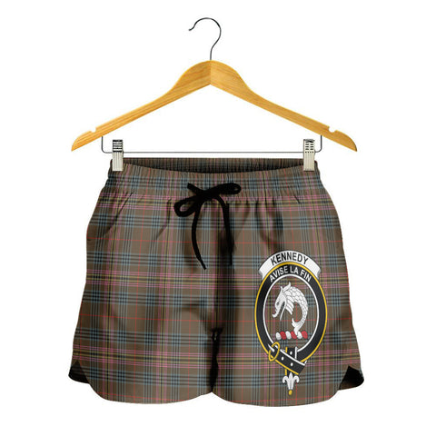 Image of Kennedy Weathered Crest Tartan Shorts For Women K7