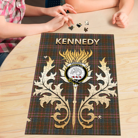 Image of Kennedy Weathered Clan Name Crest Tartan Thistle Scotland Jigsaw Puzzle