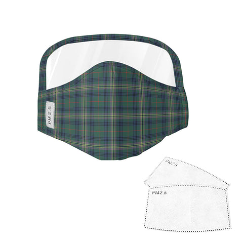 Image of Kennedy Modern Tartan Face Mask With Eyes Shield - Green  Plaid Mask TH8