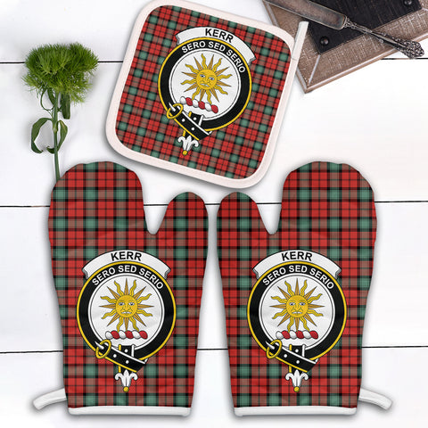 Image of Kerr Ancient Clan Crest Tartan Scotland Oven Mitt And Pot-Holder (Set Of Two)