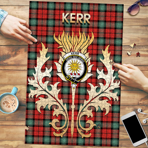 Kerr Ancient Clan Name Crest Tartan Thistle Scotland Jigsaw Puzzle
