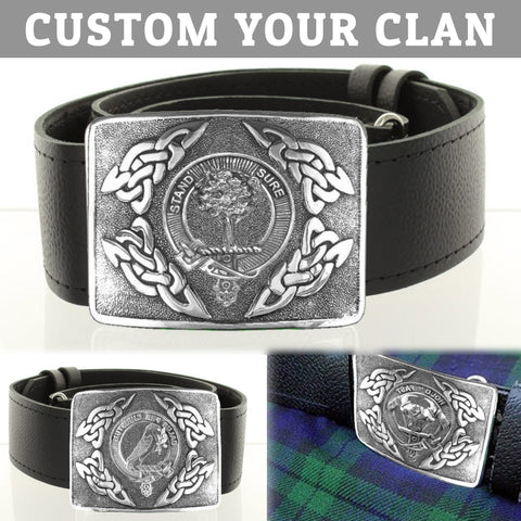 Image of (Custom For Your Clan) Tartan Clan Crest Interlace Kilt Belt Buckle | Scottish Clans