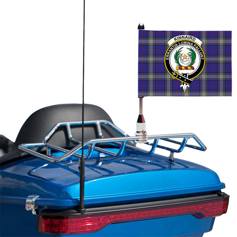 Image of Kinnaird Clan Crest Tartan Motorcycle Flag
