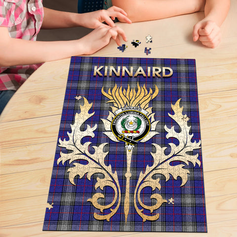 Image of Kinnaird Clan Name Crest Tartan Thistle Scotland Jigsaw Puzzle