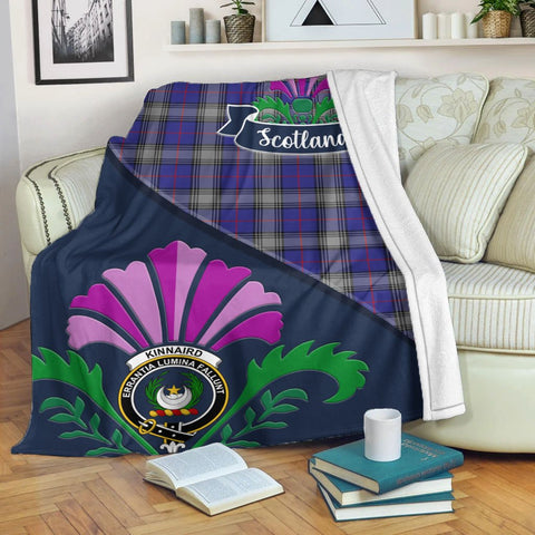 Kinnaird Crest Tartan Blanket Scotland Thistle | Tartan Home Decor | Scottish Clan