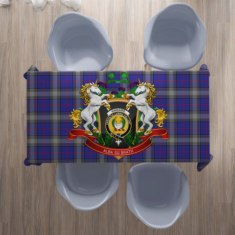 Kinnaird Crest Tartan Tablecloth Unicorn Thistle | Home Decor