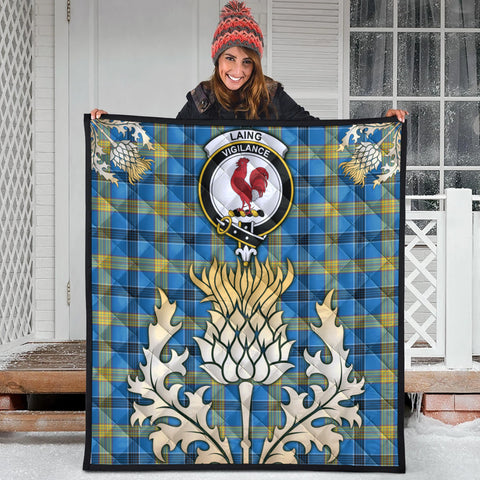 Laing Clan Crest Tartan Scotland Thistle Gold Royal Premium Quilt