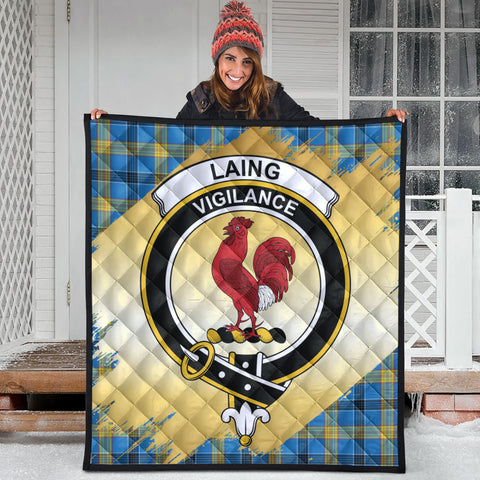 Image of Laing Clan Crest Tartan Scotland Gold Royal Premium Quilt