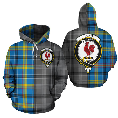 Laing Clan Half Of Me New Version Crest Tartan Hoodie
