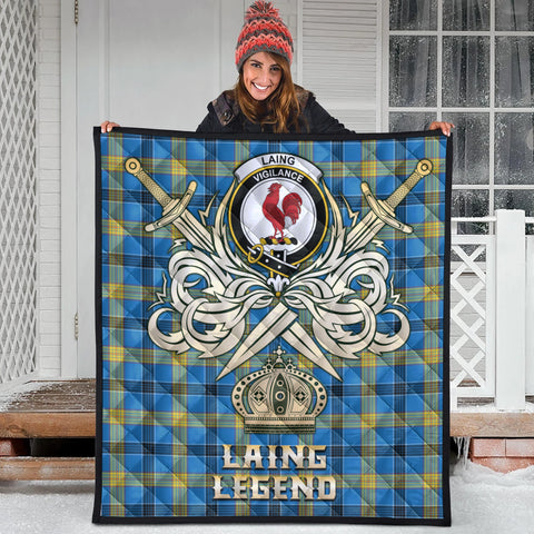 Laing Clan Crest Tartan Scotland Clan Legend Gold Royal Premium Quilt