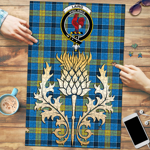Laing Clan Crest Tartan Thistle Gold Jigsaw Puzzle