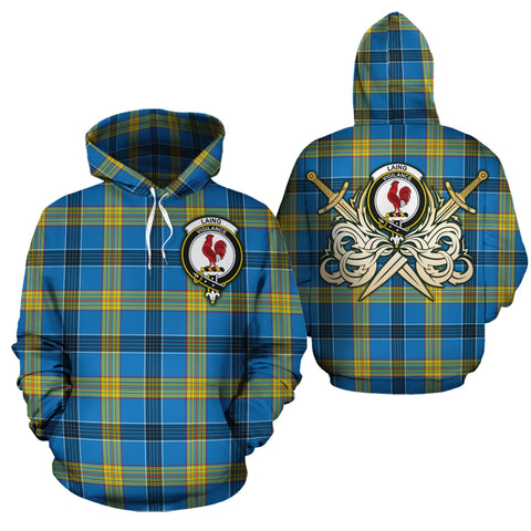 Laing Clan Crest Tartan Scottish Gold Thistle Hoodie
