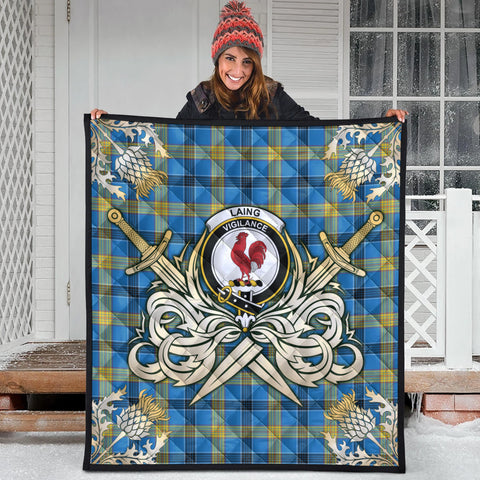 Image of Laing Clan Crest Tartan Scotland Thistle Symbol Gold Royal Premium Quilt