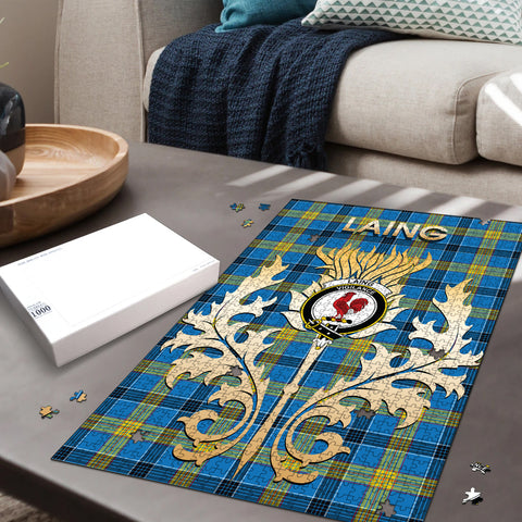 Laing Clan Name Crest Tartan Thistle Scotland Jigsaw Puzzle