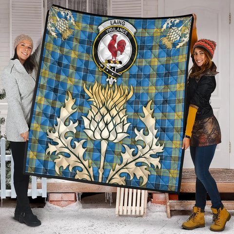 Image of Laing Clan Crest Tartan Scotland Thistle Gold Royal Premium Quilt K9