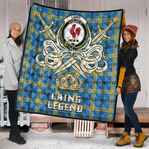 Image of Laing Clan Crest Tartan Scotland Clan Legend Gold Royal Premium Quilt K9